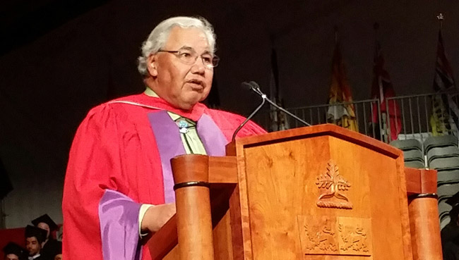 Dr. Justice Murray Sinclair addressing Osgoode Hall Law School Convocation after receiving his Honourary Doctorate of Laws, Toronto, June 19.