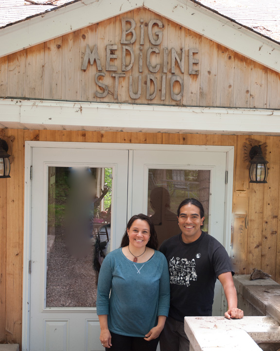 Penny Couchie and Sid Bobb at Big Medicine Studio in Nipissing First Nation.