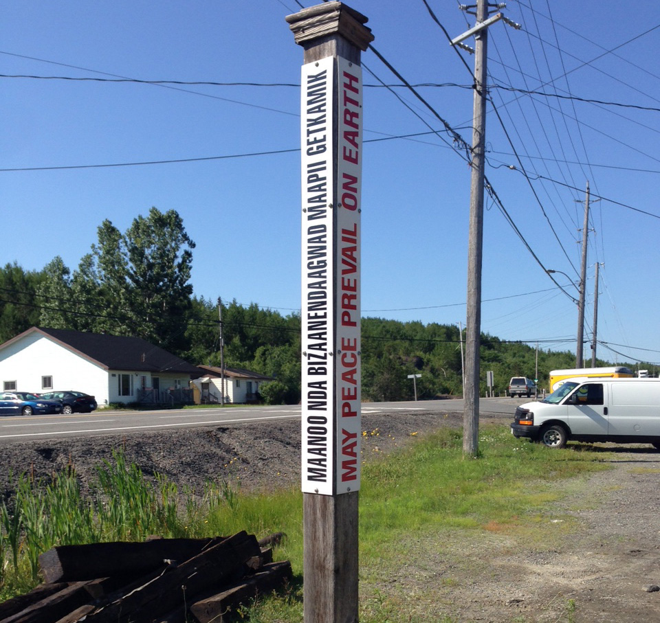 Peace Pole dedication ceremony On August 6 at 11 AM at 819 Hwy 17 East in Wahnapitae.