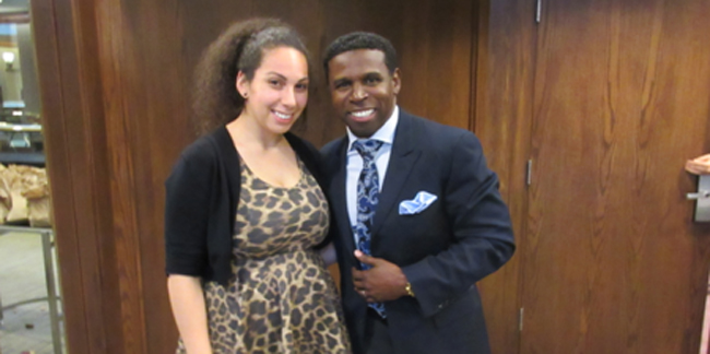Chesney Sickles-Jarvis, from Oneida Nation of the Thames, picked up some tips on working with large groups of people from former CFL star player Pinball Clemons during the Toronto 2015 Youth Summit this past spring. The summit was one of the events leading up to the 2015 Pan-American Games.
