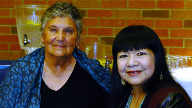 Maria Campbell, Dbaajmawak visiting author with Cheryl Partridge (right).
