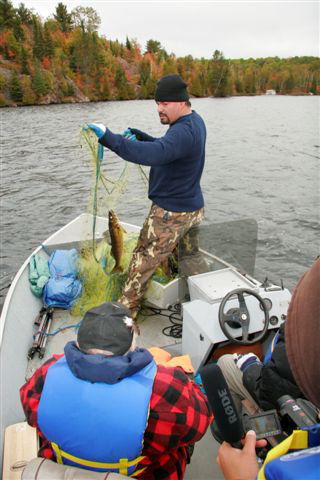 Chief Isadore Day setting nets on Oct. 1, 2009 near Elliot Lake -- assertion of Treaty Rights.