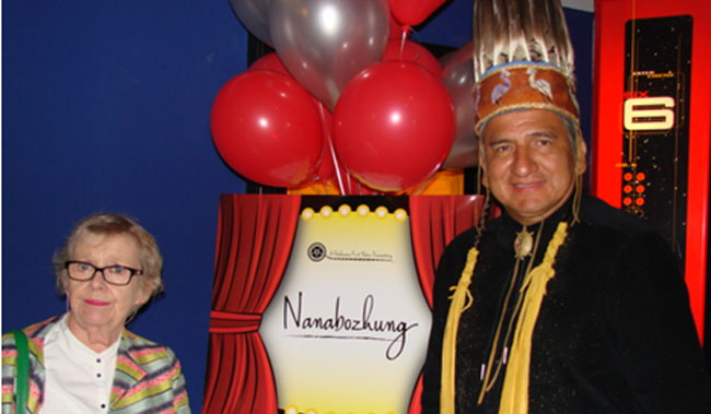 Irish film producer Maureen DePietro and Chief Lyle Sayers at the premiere of 'Nanabozhung' at the Galaxy Theatre in Sault Ste. Marie on September 7.
