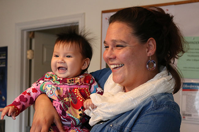 Wasauksing First Nation citizens Tessa Pegahmagabow-Johnston and Lindsay McConnell, Family Support Worker and Child Welfare Working Group member, share some laughs after the Child Well-Being Law communications sub-committee met in October.