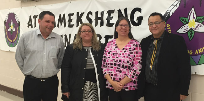 Steering committee members Roger Beaudin, Julie Morin and Mary Jo Wabano with Grand Council Chief Patrick Madahbee.