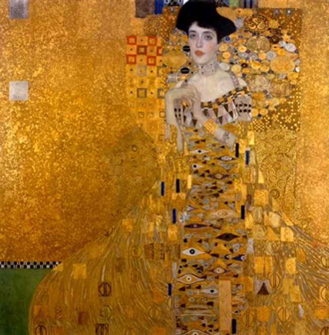 Gustav Klimt's Portrait of Adele Bloch-Bauer, 1907, stolen by the Nazis between 1933 and 1941, and restored to its rightful heir, Maria Altmann by Don Burris and his legal team in 2006. The painting now legitimately hangs in the Neue Galier in New York City