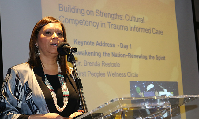 Dr. Brenda Restoule speaks at the 'Awakening the Nation - Renewing the Spirit' health conference on Jan. 19 about cultural competency and trauma informed care.