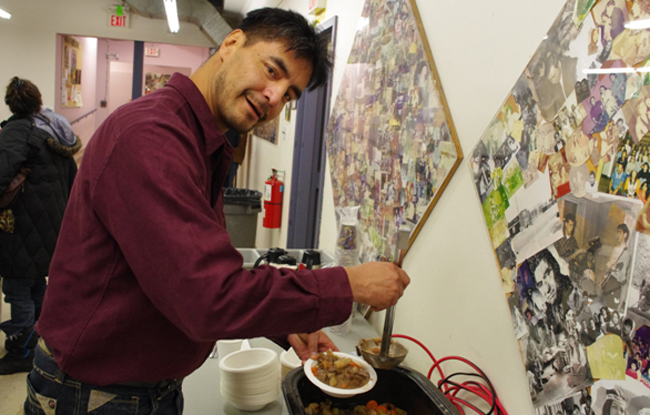Nigigoonsiminikaaning (Red Gut)'s Perry Perrault grabs a bowl of soup after completing the Point in Time Count and 20,000 Homes Campaign surveys on Jan. 16 at the Thunder Bay Indian Friendship Centre.