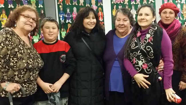 Taking part in the Honouring Ceremony and Feast at Ryerson University in Toronto are from left to right: Joyce Carpenter and son Lukie of Alderville First Nation, Tracey King of Wasauksing First Nation, Elder Joanne Dallaire, Cheryl Trudeau of Sagamok First Nation, and Mag Cywink of Whitefish River First Nation.