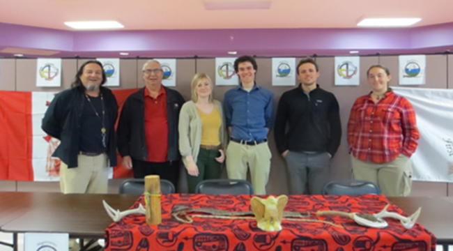 Anthony Laforge, Magnetawan First Nation Chief William Diabo, Turtle Island Conservation Centre representatives Katie Akey and Mathew Brill, and Magnetawan Species at Risk technicians Ryan Morin and Jenn Baxter-Gilbert.