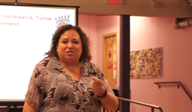 Anishinabek Education negotiations team member Tracey O'Donnell speaks about the ratification process for the Anishinabek Nation Education Agreement during a March 1 information session in Thunder Bay.
