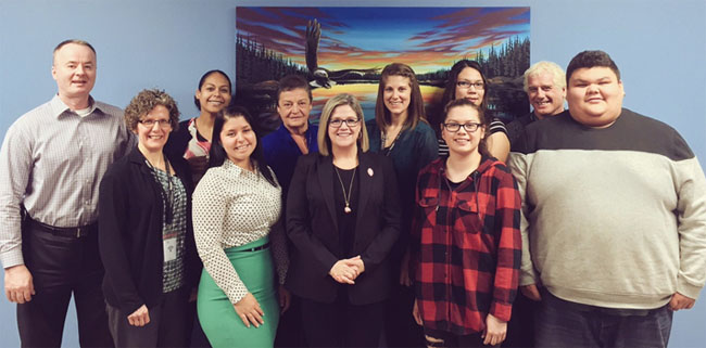 NDP leader Andrea Horwath met with four youth amplifiers and staff from the Office of the Provincial Advocate for Children and Youth on March 15 in Thunder Bay.