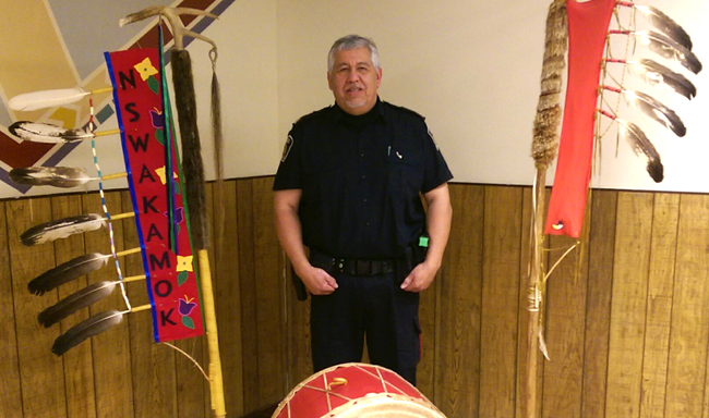 Grant Dokis is honoured at a retirement party at Sudbury's N'Swakamok Native Friendship Centre. This is but one of the many partnerships he developed over 30 years of policing with Greater Sudbury Police Service. Photo: N'Swakamok Friendship Centre