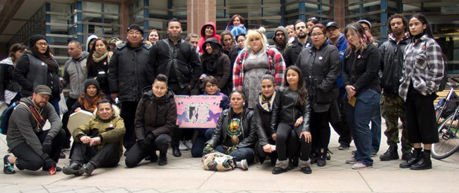 A vigil was held on April 25 in Toronto, the third anniversary of Cheyenne Fox's death.