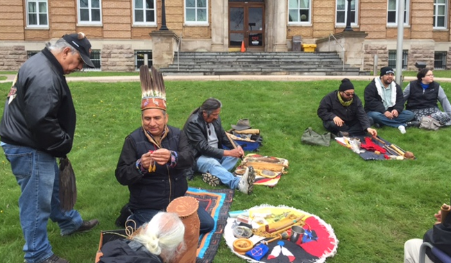 Batchewana First Nation Chief Dean Sayers outside the Sault Ste. Marie courthouse.