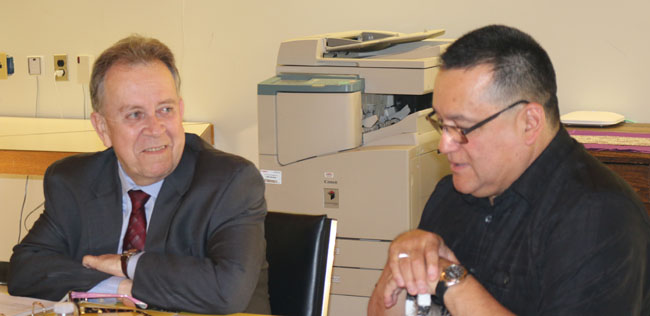 Minister Michael Gravelle with Grand Council Chief Patrick Madabee.