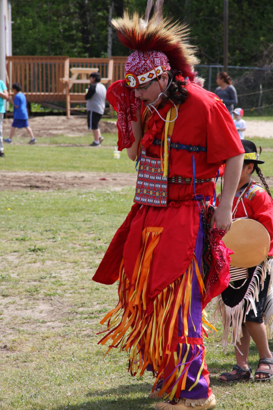 Gavin King at the Christian Island Elementary School Pow-wow.