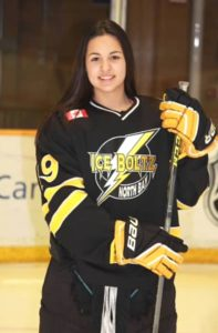 Jana Headrick of Garden Village First Nation, representing North Bay Ice Boltz Midget AA Division