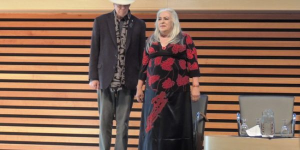 Thomas King and Lee Maracle on stage at the 7th Annual Writers Gathering.