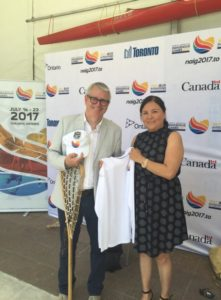 Marcia Trudeau and MP Adam Vaughan at the one-year countdown ceremony in Toronto on July 15, 2016, for the 2017 NAIG.
