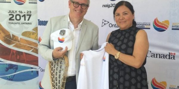 Picture if of Marcia Trudeau and MP Adam Vaughan at the one-year countdown ceremony this past Friday in Toronto for the 2017 NAIG.