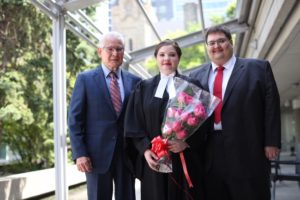 Howard E. Staats, Q.C. (left), poses with his granddaughter and new lawyer Brenna Staats, at the Call to the Bar ceremony in Toronto June 20. At right is Mark Staats, who is Howard's son and Brenna's uncle. Brenna is joining the family firm - Staats Law - in Brantford. The Staats family is the first Indigenous family in Ontario with three generations of practicing lawyers.