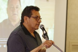 Pic Mobert Chief Wayne Sabourin speaks about the community's Chi-Naaknigewin constitution during an off-reserve constitutional workshop/information session in Thunder Bay on July 7.