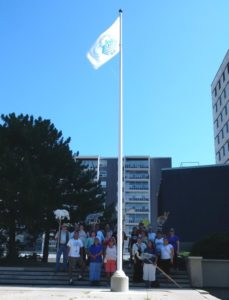 Chippewa of the Thames Flag being raised in London, Ontario, on September 7, 2016, to commemorate