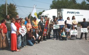 The TEK group at a highway protest in August of last year near Mississauga First Nation.
