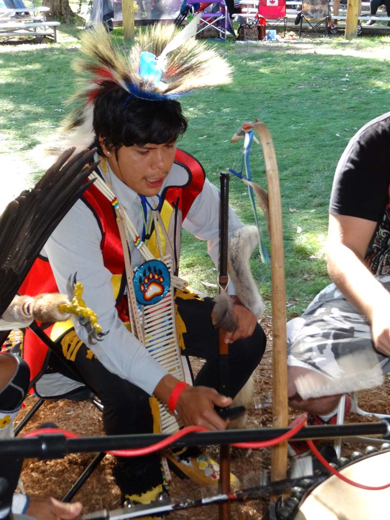"""Kirby Shipman """"came out"""" as a men's traditional dancer at Nipissing First Nation's 28th annual pow-wow the day after he graduated from Nbisiing Seconday School."""