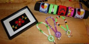 Emilie Corbiere's  beadwork that she sells on the Facebook social media platform.