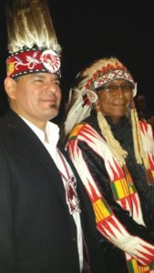 Ontario Regional Chief Isadore Day with Chief Arvol Looking Horse in Toronto, November 28, 2016. Photo by Barb Nahwegahbow